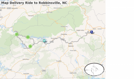 Map Delivery Ride to Robbinsville, NC