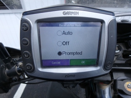 Garmin Zumo 550 Disable Recalculation Mode