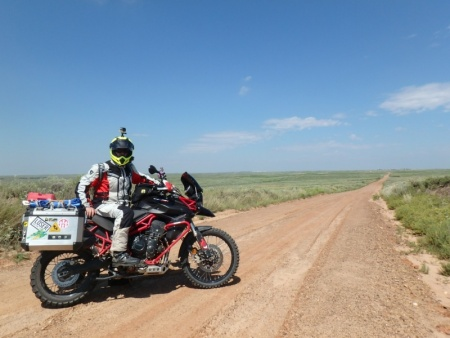 Triumph Tiger on the Trans America Trail