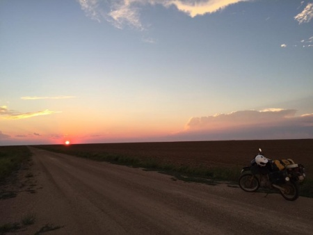 Sunset over Oklahoma and a DR650SE