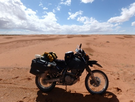 DR650SE in the midst of Sand Dunes