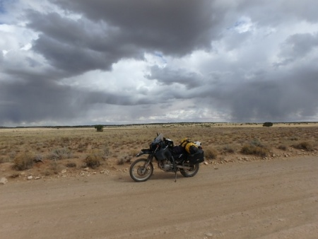 Rain to the Left, Rain to the Right, Here My DR650 sits in the middle