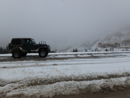 Abandoned Jeep in the Road?