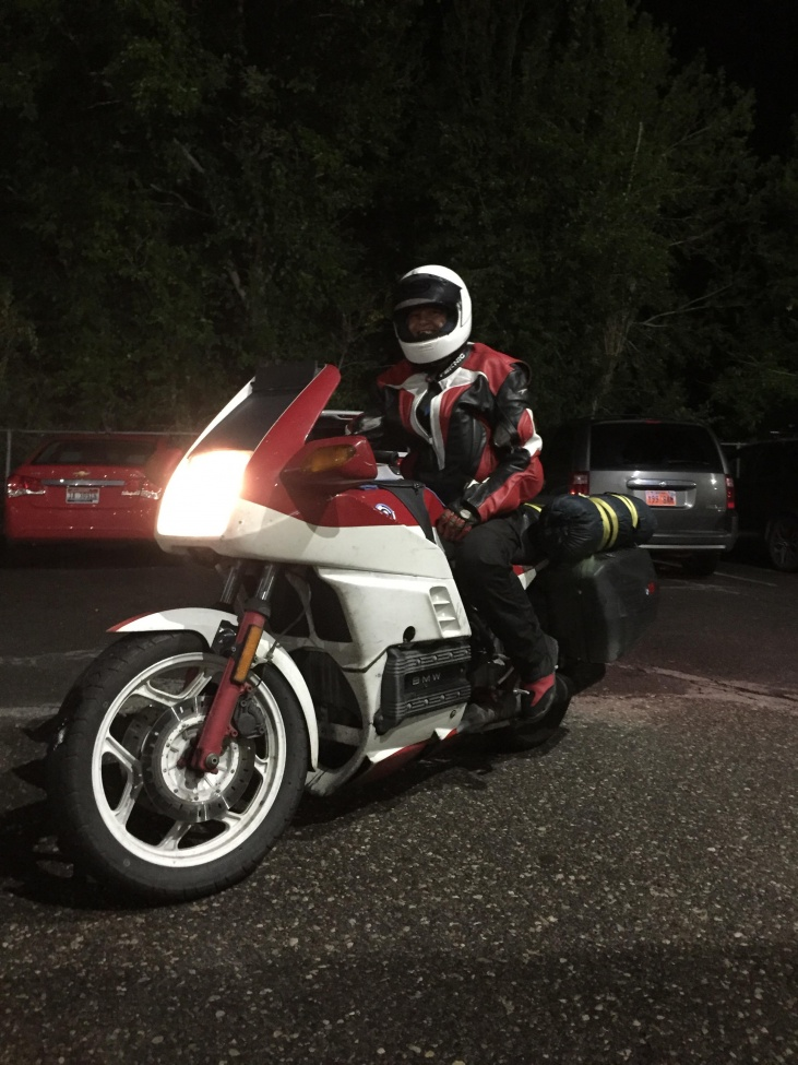 White and Red K100RS at Night