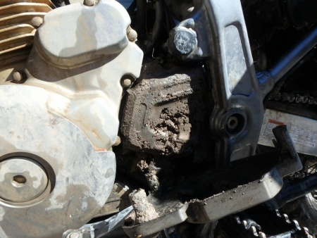 Caked Mud around the sprocket