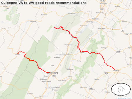 Culpeper, VA to WV good roads recommendations