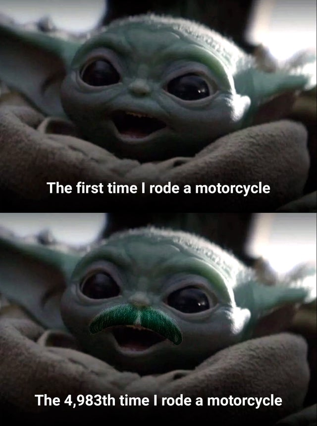 Baby Yoda Reacts to Motorcycling