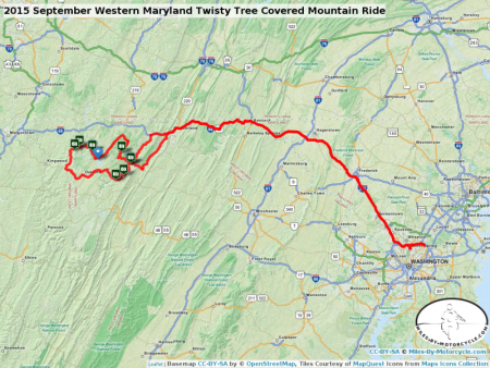 2015 September Western Maryland Twisty Tree Covered Mountain Ride
